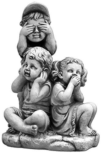 gartendekoparadies.de Wunderschöne Kinderfigur Nichts Hören, Nichts Sehen, Nichts Sagen Steinguss frostfest