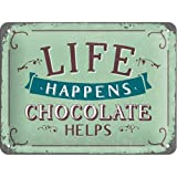 Nostalgic-Art 26191 Word Up - Life Happens - Chocolate Helps, Blechschild 15x20 cm