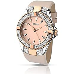 Seksy By Sekonda Women's Quartz Watch with Rose Gold Dial Analogue Display and Rose Gold Leather Strap 2082.37