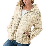 TWBB Damen Mantel,Winter Warm Hoodie Einfarbig Kapuzenpullover Outwear Kunstfell Jacke Strickjacke Coat