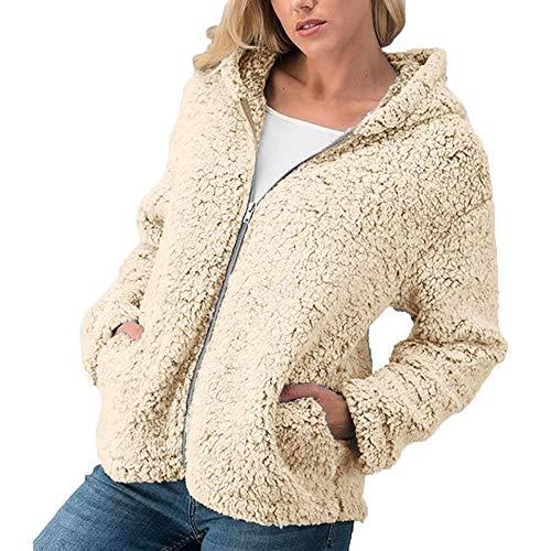 emp aufkleber TWBB Damen Mantel,Winter Warm Hoodie Einfarbig Kapuzenpullover Outwear Kunstfell Jacke Strickjacke Coat