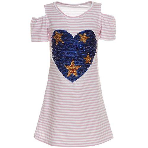 Für Von Kostüm Kinder Italien - BEZLIT Mädchen Sommer Kleid Pailletten Fest Freizeit Kleid Kostüm Streifen 21294 Rosa Größe 140