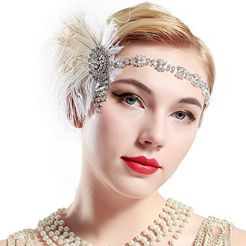 BABEYOND Damen 1920s Stirnband Pfau Feder Kristall Haarband Flapper Kopfstück Great Gatsby Motto Party Kostüm Accessoires (Band Motto Kostüm)
