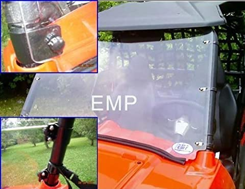 Extreme Metal Products EMP-9833 Full Polycarbonate Windshield With Quick Release Clamps For 2007-10 Polaris Ranger RZR by EMP