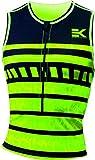 Triathlon Herren Compression TOP EKEKO ärmellos mit Front-RV und 2 offenen Taschen hinten, Flachnähte.UV 50+.Atmungsaktiv, es leitet den Schweiß gut ab. Zweite Hautanpassung. Mehlgrün/schwarz L