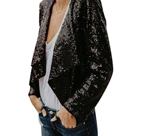 Sentao Donna Eleganti Giacche Abito Blazer Manica Lunga Paillettes Giacca Cardigan Cappotti Jacket Classico Nero