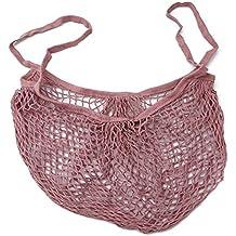 ODN Einkaufsnetz Netze Tasche Obst- und Gemüsebeutel aus Bio-Baumwollschnur (Rosa)