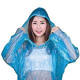 Milestone Camping 20500 Emergency Reusable Rain Poncho with Hood, 80 x 50,Blue