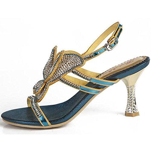 SYYAN Damen Leder Strasssteine Schmetterling Hohl Offener Zeh Pure Handmade Pumpe Kleid Sandalen Blau Blue