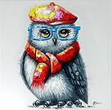 Kunst & Ambiente - Hipster Eule – Eulenbild – Martin Klein – Handgemaltes Tierbild - Eulen Wandbild - Tier Leinwand - Süße Eule - Wandbild
