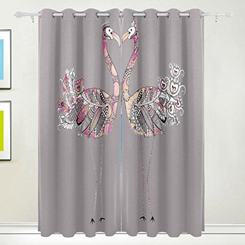 Okone pannelli tende oscuranti blackout grommet divisorio per patio finestra porta scorrevole in vetro con acquerello animale struzzo pannelli (139,7x 213,4cm,2)
