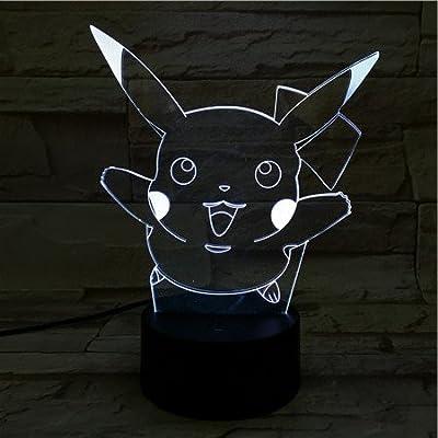 Lampara LED Pokémon Pikachu Salto Cambia Color USB Luz Nocturna por WoloShop