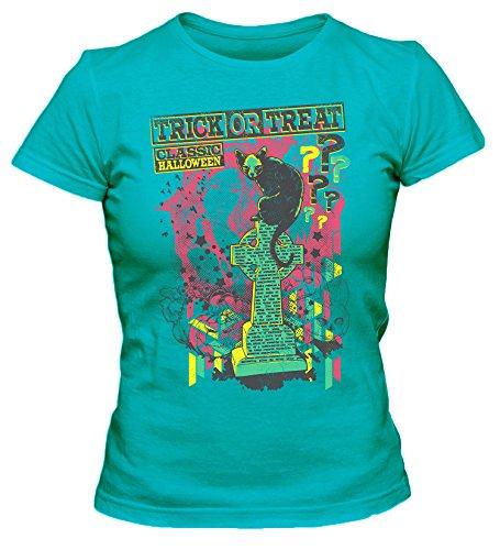 s Party Damen T-Shirt_türkis_XL (Halloween Grabstein Zeichnungen)