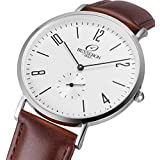 Besseron Thin Men's Quartz Watch with White Dial Analogue Display and Brown Leather Strap G15004SBR