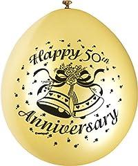 Idea Regalo - Unique Party 80338 - Palloncini in Lattice Dorato Happy 50th Anniversary da 23 cm, Confezione da 10