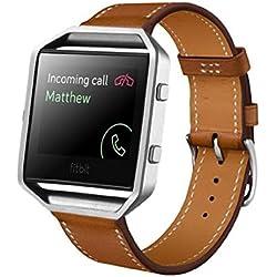 Susenstore Luxury Genuine Leather band For Fitbit Blaze Smart Watch