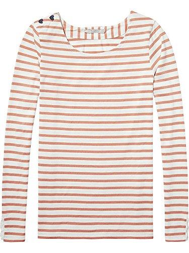Scotch & Soda Maison Damen T-Shirt Central fit breton stripe L/S tee 138504, Gr. Medium, Mehrfarbig (Combo B 18)