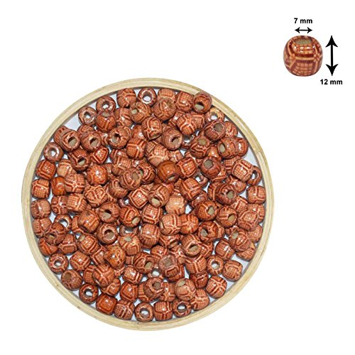 Asian Hobby Crafts Wooden Beads (50 Pieces, 10mm, Pattern 5)