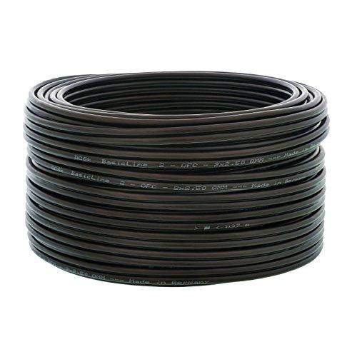 DCSk 20m - 2x2,5mm² Lautsprecherkabel schwarz - OFC Kupferkabel für HiFi Audio - 99,99% Voll-Kupfer Boxenkabel mit Isolierung