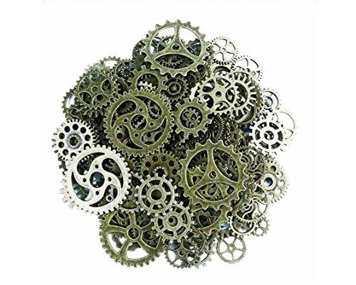 Westeng 100 Gramm Steampunk Zahnräder Retro Metall Uhren Maschinen Teile Schmuck Basteln DIY Zubehör - Alte Bronzefarbe