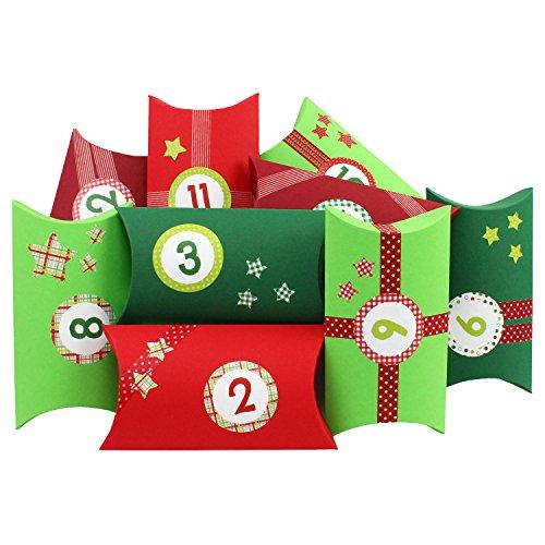 Papierdrachen 24 Adventskalender Pillowboxen - mit rotem Washitape und bunten Zahlenaufklebern - 24 Kissenschachteln - zum individuellen Befüllen und Gestalten