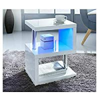 Caprican Alaska Modern Design White High Gloss Coffee Side Table With Blue LED Lights