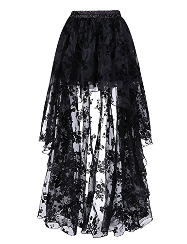 (FeelinGirl Damen Amelia Gothic Steampunk gekräuselten Kuchen Rock Styles Low High Gothic Button Rock,Schwarz,M(EU 38-40,Taille 68-72cm))
