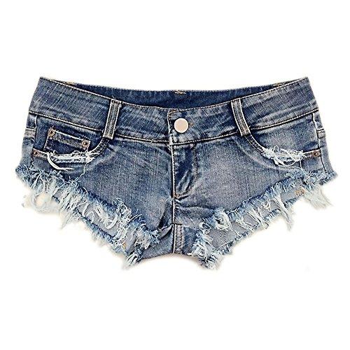 DELEY Frauen Mädchen Quaste Party Nacht Club Bar Tanz Ausgefranste Mini Hot Jeans Shorts Hotpants Größe M