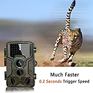 HD Trail Camera BestoU 16MP 1080P Wildlife Camera Infrared Game&Hunting Camera with 46 Pcs low glow IR LEDs Night Version up to 20M/65FT Scouting Camera with IP66 Spray Waterproof 130° Wide Angle Lens 120° Detection