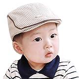 Evansamp Unisexe bébé Chapeaux, Mignon Rayures Beret Casquette de Baseball à visière Chapeau pour 1–3Ans Infant garçon Fille, Enfant, Kaki, 1-3 Year