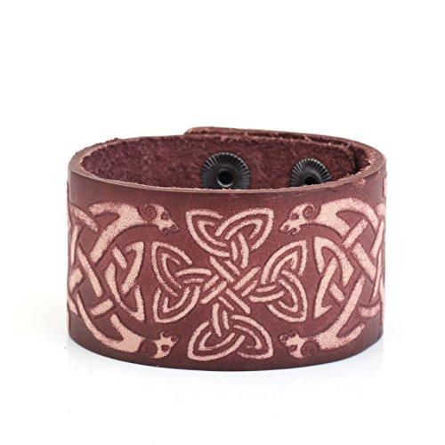 VASSAGO Pulsera de piel de amuleto con diseño de triquetra de nudo celta vikingo