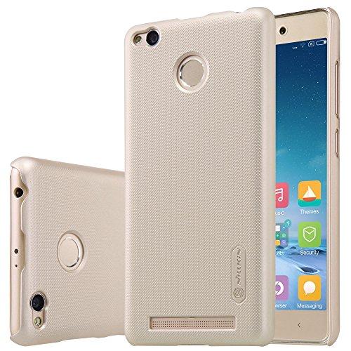 Nillkin Super Frosted Shield Hard Back Cover Case for Xiaomi Redmi 3s Prime ( Gold Color ), Free Screen guard
