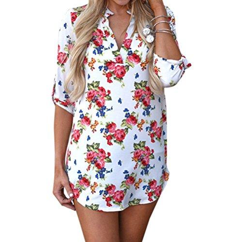 Damen V Ausschnitt Casual Shirts Frauen Druck Muster Bluse Tops (Blume (weiß), M/EU 40-42)