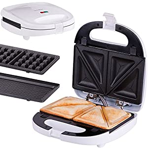 TZS First Austria - 3 in 1 Sandwichmaker Waffeleisen Tischgrill ,Klick-System, Thermostat, Backampel, elektrischer Sandwichtoaster, 700 Watt, Kontaktgrill | abnehmbare Platten