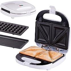 Sandwichera 3 en 1 | gofrera y parrila de mesa 3 en 1 | sistema de clic | termostato | sandwichera eléctrica | 700 vatios | función grill, gofre, sándwich | gofrera y grill 3 en 1 | 3 placas |