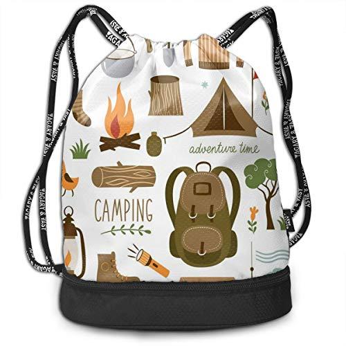 LULABE Printed Drawstring Backpacks Bags,Camping Equipment Sleeping Bag Boots Campfire Shovel Hatchet Log Artwork Print,Adjustable String Closure