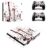 stillshine PS4 slim Skin autocollant Stickers Design Film Seconde Peau Coque pour console Sony Playstation 4 slim & 2 manettes DualShock Rouge sang