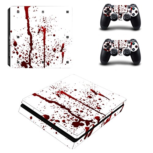 Stillshine Ps4 Slim Consola Design Foils Vinyl Skin Sticker Decal Pegatina And 2 Playstation 4 Slim Dualshock Controlador Skins Set (Blood)
