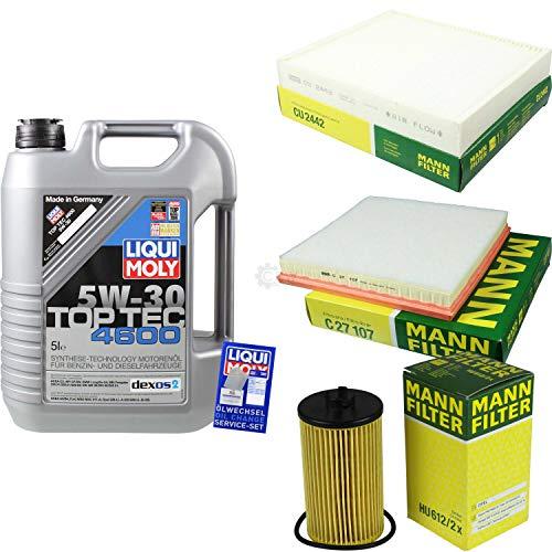 Filter Set Inspektionspaket 5 Liter Liqui Moly Motoröl Top Tec 4600 5W-30 MANN-FILTER Innenraumfilter Luftfilter Ölfilter