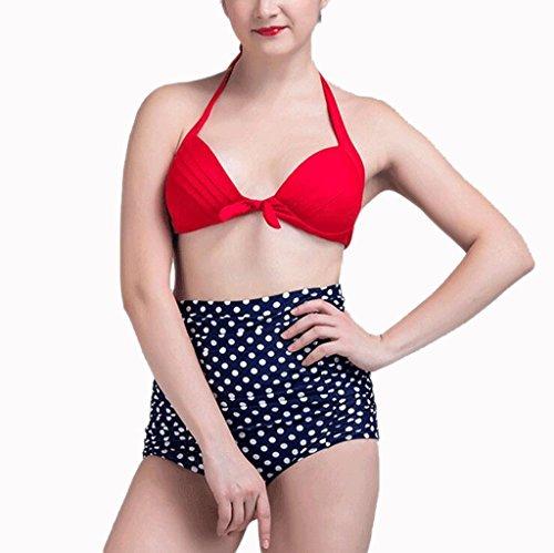 GAIHU The grease swimsuit dress with a large size swimwear bikini fashion wave Point Print Ladies Spa Split Swimsuit