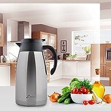 GEEDIAR® 2L Termo Cafetera Tetera Hervidor de Agua Thermos de Doble Capa de Vacío Aislados Carafe Coffee Pots Gris
