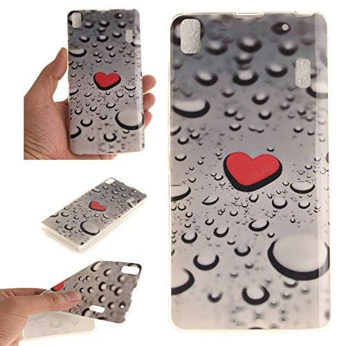 Qiaogle Teléfono Caso - Funda de TPU silicona Carcasa Case Cover para Lenovo K3 Note A7000 / K50-t5 4G LTE (5.5 Pulgadas) - TX32 / Rojo love heart raindrops