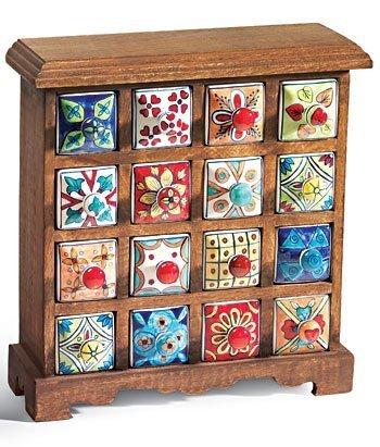 16 drawer ceramic storage chest, mango wood by Namaste