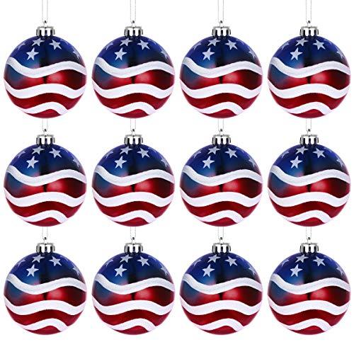 Amosfun 12 STÜCKE Weihnachtskugel Ornamente Baumschmuck Patriotische Partei Liefert Dekorationen Independence Day Party Supplies 8 cm (die Sterne und die Streifen) (Patriotische Partei Liefert)