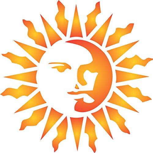 Sun Schablone, wiederverwendbar, große Celestial Sonne Ray Wand-Vorlage, auf Papier Projekte Scrapbook Tagebuch Wände Böden Stoff Möbel Glas Holz etc. Größe S