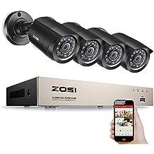 ZOSI CCTV 720P Video Überwachungssystem 8CH HD TVI 1080N HDMI DVR Recorder mit 4 Außen 720P Überwachungskamera Set ohne Festplatte, 20m IR Nachtsicht, Bewegung Alarm, Smartphone & PC Schnellzugriff