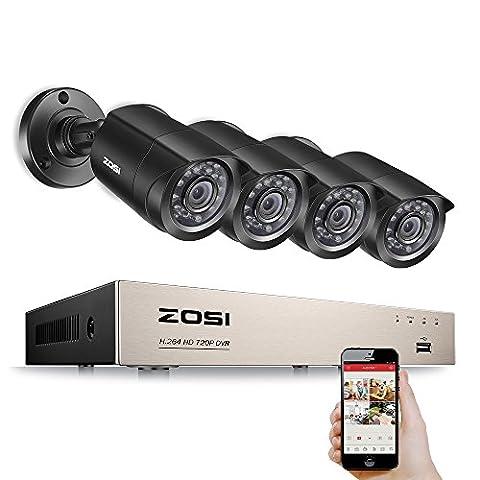 ZOSI HD-TVI 720P 8CH DVR 4pcs Caméra Surveillance 1280TVL 65ft (20m) Vision Nocturne, 24pcs Leds IR, Contrôle à distance en 3G / 4G / WiFi de Smartphone, Système de Vidésorurveillance San HDD