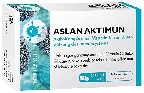 Aslan Aktimun, 30 Kapseln - Nährstoffkomplex zur Unterstützung der Abwehrkräfte mit Vitamin C, Beta-Glucan, prebiotischen Nährstoffen, probiotischen Bakterien -