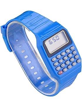 Jungen Mädchen Silikon Datumsanzeige elektronische Uhr Mulitfunktions Rechner Uhr Taschenrechner Uhr für Kinder...