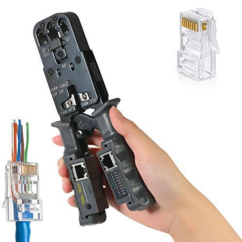 NOBGP Modularer Crimper mit Ratschenfunktion und abnehmbarem Netzwerkkabeltester, Ethernet-Abisolierzange, Crimpzange für Netzwerkstecker für 4P, 6P, 8P, RJ11, RJ12, RJ45